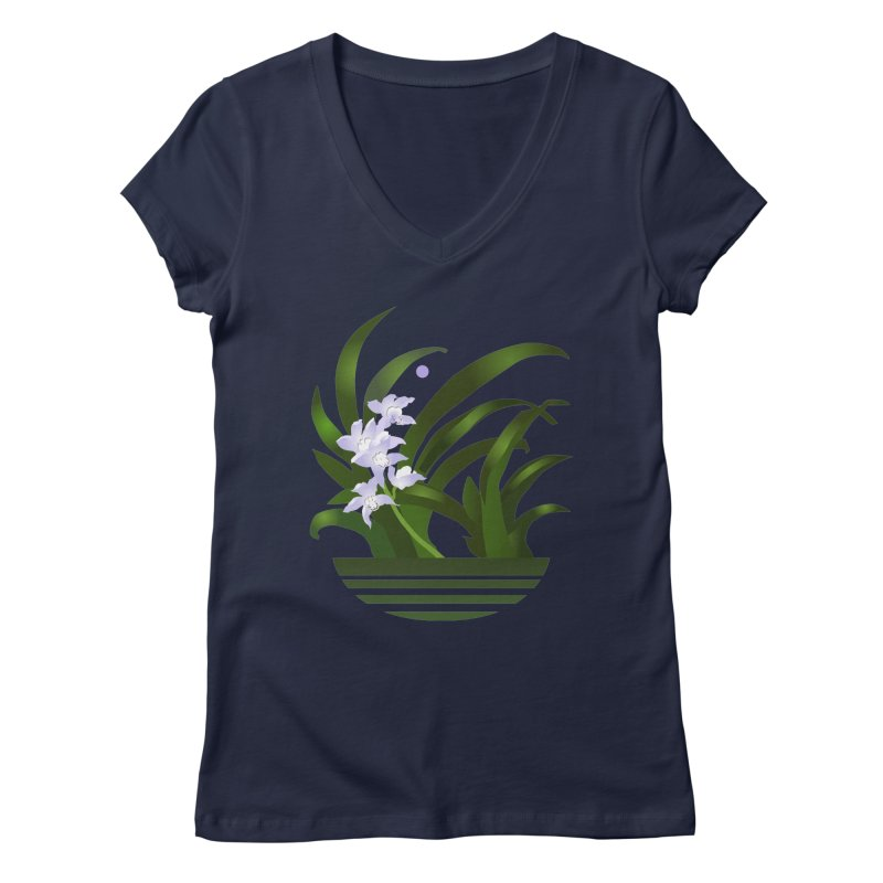Orchid Moon Women's V-Neck by Patricia Howitt's Artist Shop