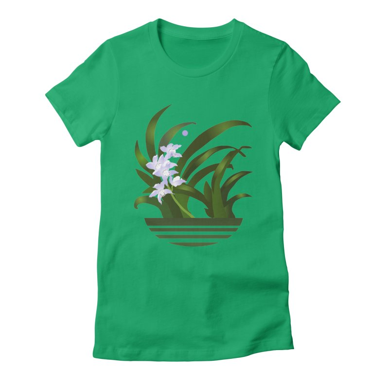 Orchid Moon Women's Fitted T-Shirt by Patricia Howitt's Artist Shop