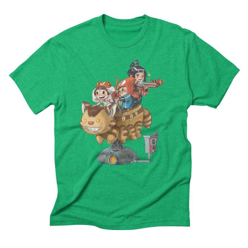 THREE ANIMEGOS Men's Triblend T-Shirt by Patrick Ballesteros