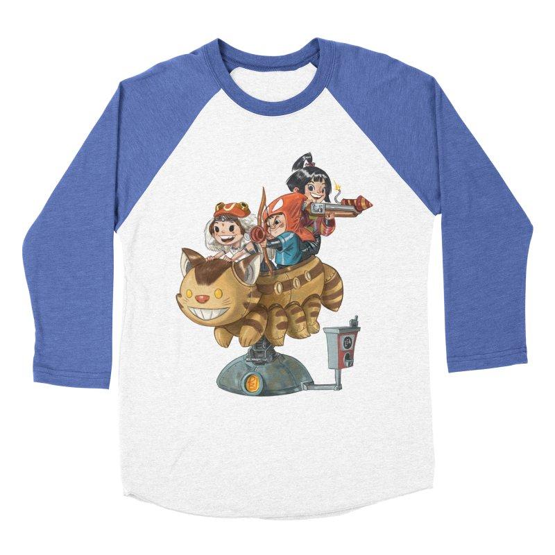 THREE ANIMEGOS Women's Baseball Triblend Longsleeve T-Shirt by Patrick Ballesteros