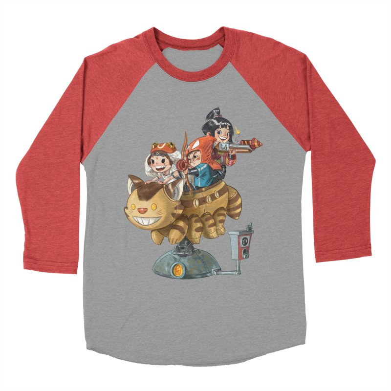 THREE ANIMEGOS Women's Baseball Triblend Longsleeve T-Shirt by Patrick Ballesteros Art Shop