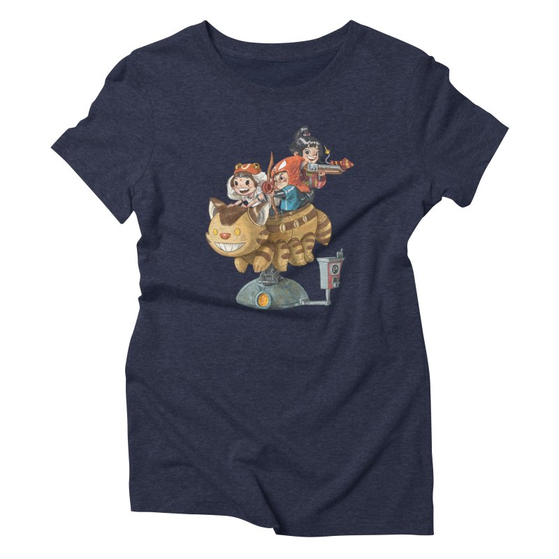 THREE ANIMEGOS Women's Triblend T-Shirt by Patrick Ballesteros