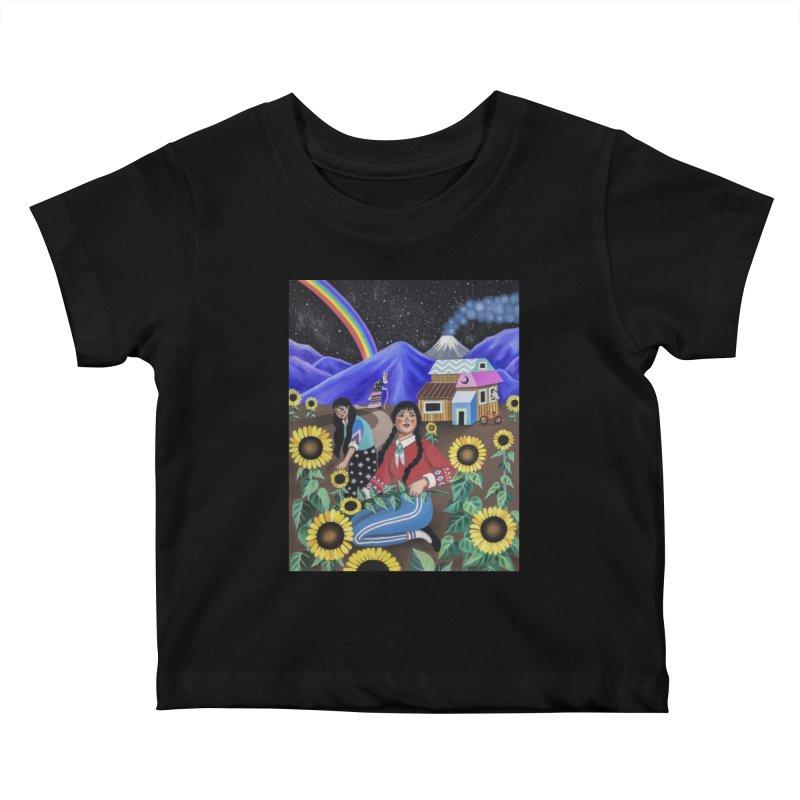 SUNFLOWERS Kids Baby T-Shirt by Paula Duró
