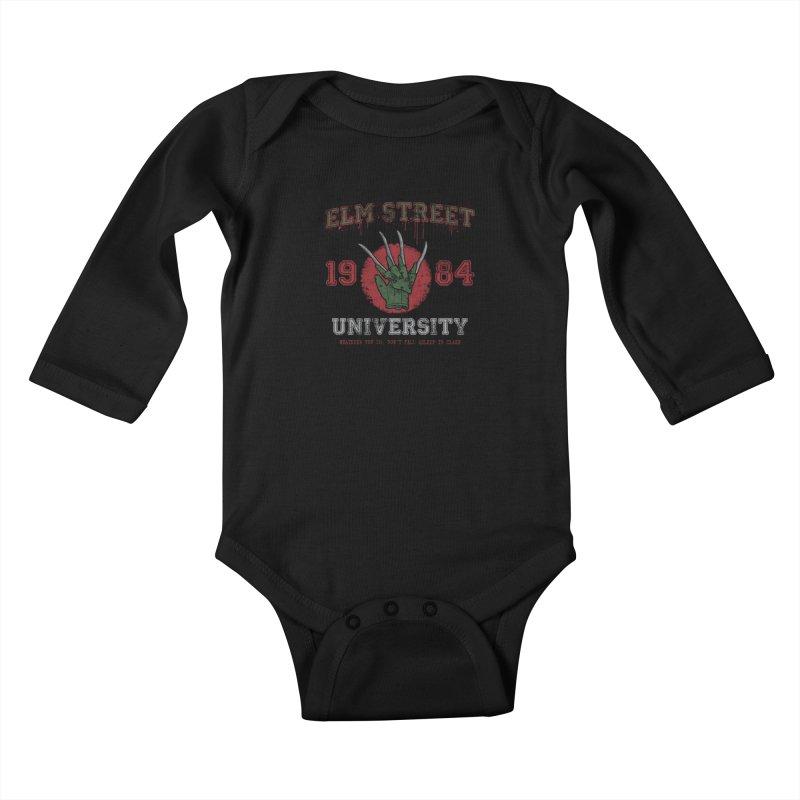 Elm St University Kids Baby Longsleeve Bodysuit by Paula García's Artist Shop