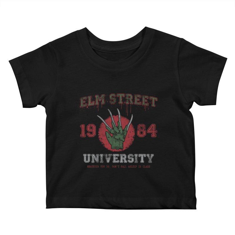 Elm St University Kids Baby T-Shirt by Paula García's Artist Shop