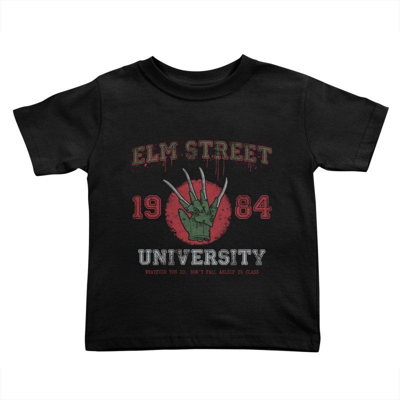 Elm St University Kids Toddler T-Shirt by Paula García's Artist Shop