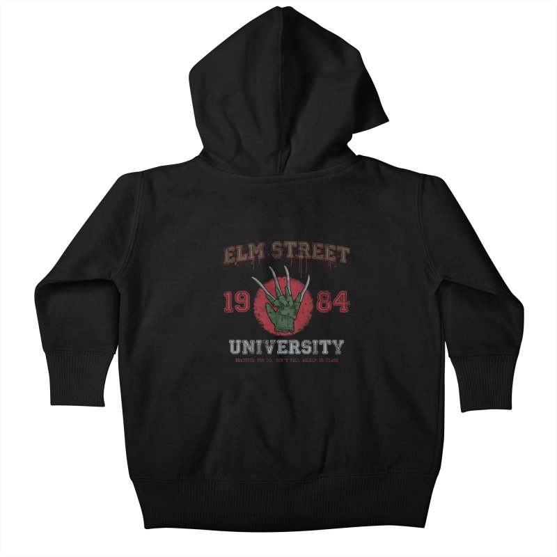 Elm St University Kids Baby Zip-Up Hoody by Paula García's Artist Shop