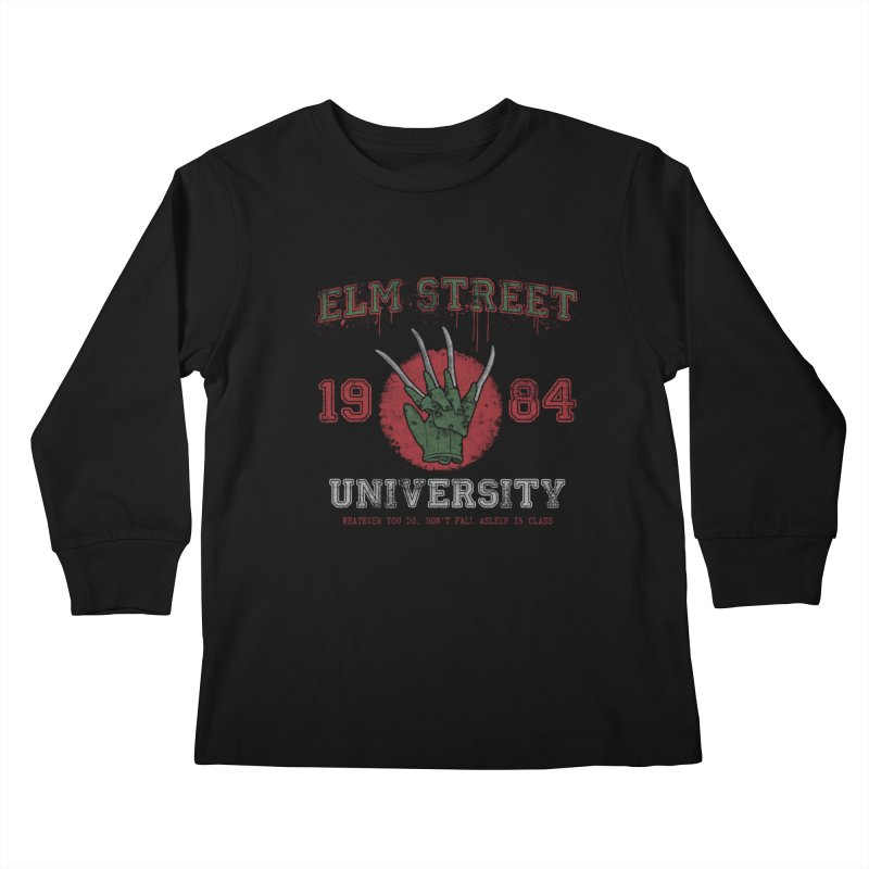 Elm St University Kids Longsleeve T-Shirt by Paula García's Artist Shop