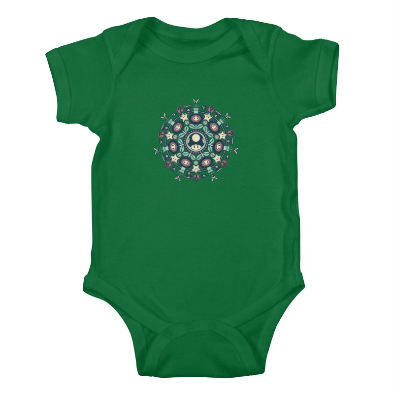 One Up Mandala Kids Baby Bodysuit by Paula García's Artist Shop