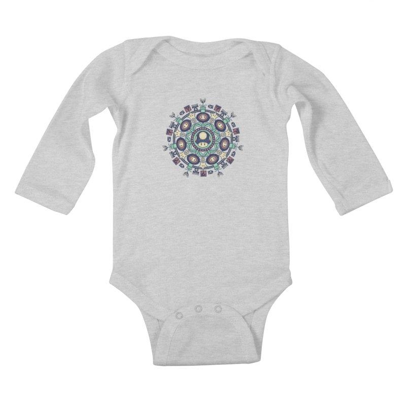One Up Mandala Kids Baby Longsleeve Bodysuit by Paula García's Artist Shop