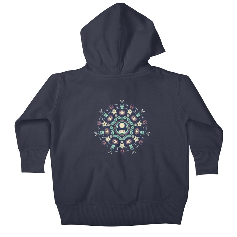 One Up Mandala Kids Baby Zip-Up Hoody by Paula García's Artist Shop