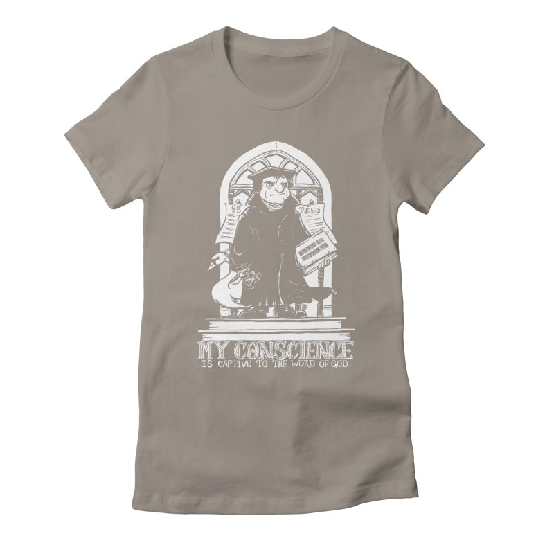 My Conscience Is Captive (White Print) Women's Fitted T-Shirt by Paul Cox Illustration Store