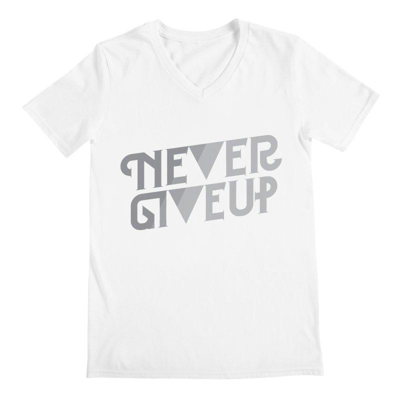 Never Give Up! Men's V-Neck by Paulo Bruno Artist Shop
