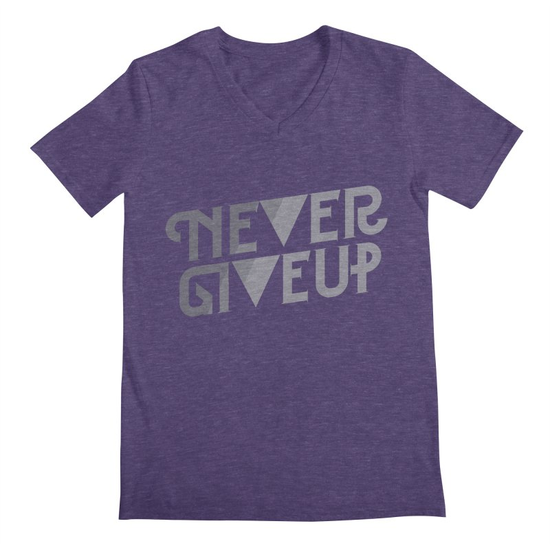 Never Give Up! Men's V-Neck by Paulo Bruno Artist Shop