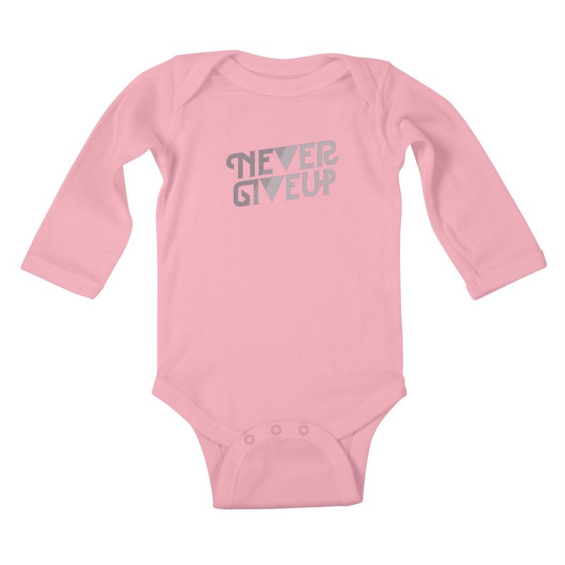 Never Give Up! Kids Baby Longsleeve Bodysuit by Paulo Bruno Artist Shop