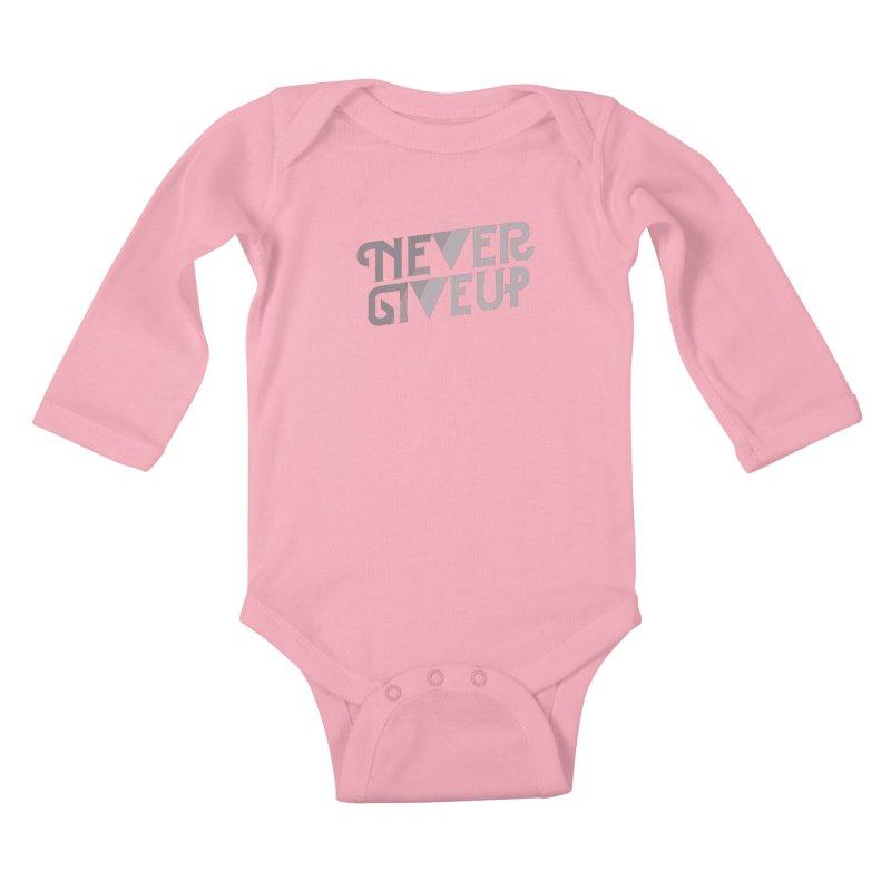 Never Give Up! Kids Baby Longsleeve Bodysuit by Paulo Bruno Artist Shop