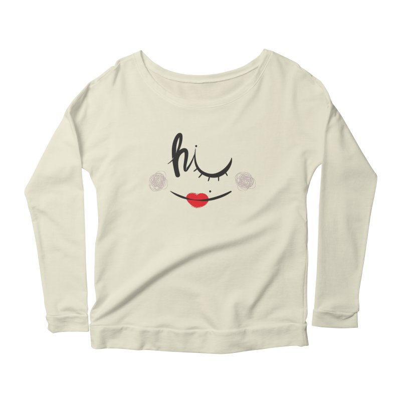 Hi  Women's Longsleeve Scoopneck  by Paulo Bruno Artist Shop