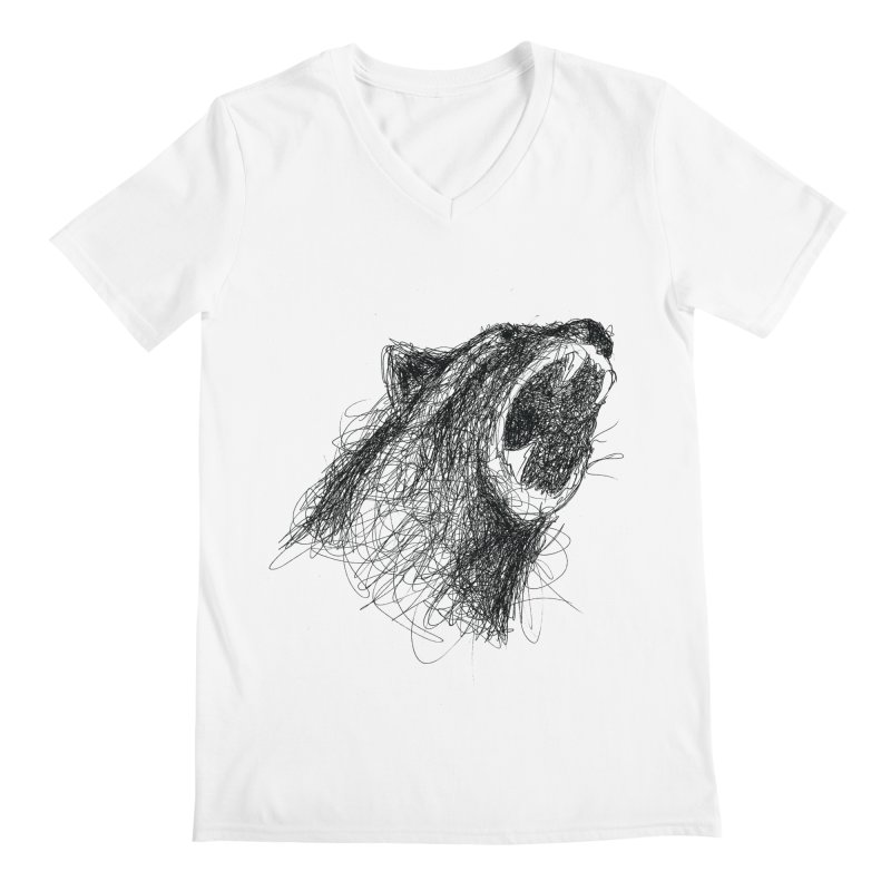 Line Bear Men's V-Neck by Paulo Bruno Artist Shop
