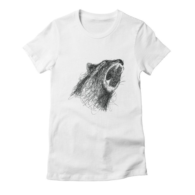 Line Bear Women's Fitted T-Shirt by Paulo Bruno Artist Shop