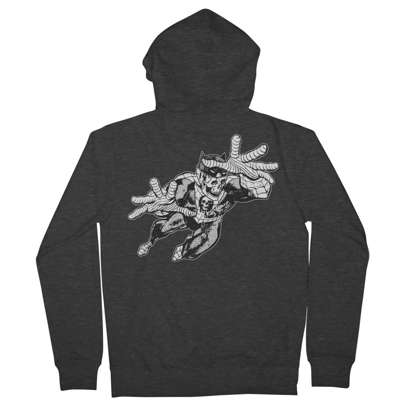 bat-skull-man-spider (two color) Men's French Terry Zip-Up Hoody by Paul Rentler