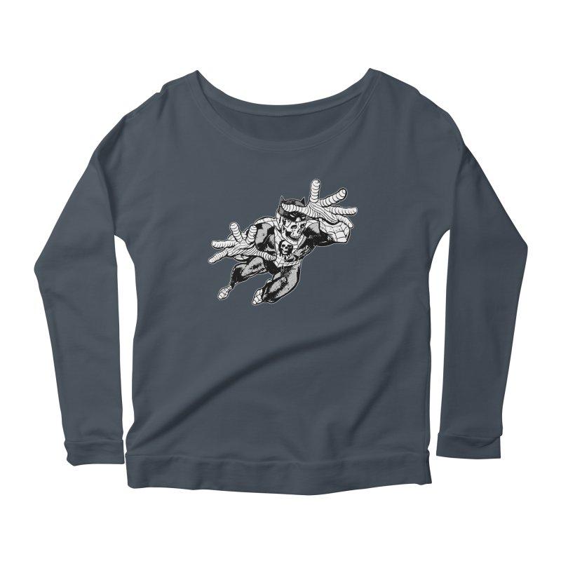 bat-skull-man-spider (two color) Women's Scoop Neck Longsleeve T-Shirt by Paul Rentler