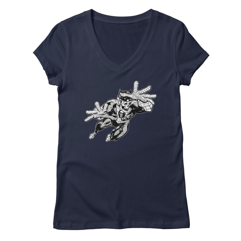 bat-skull-man-spider (two color) Women's Regular V-Neck by Paul Rentler