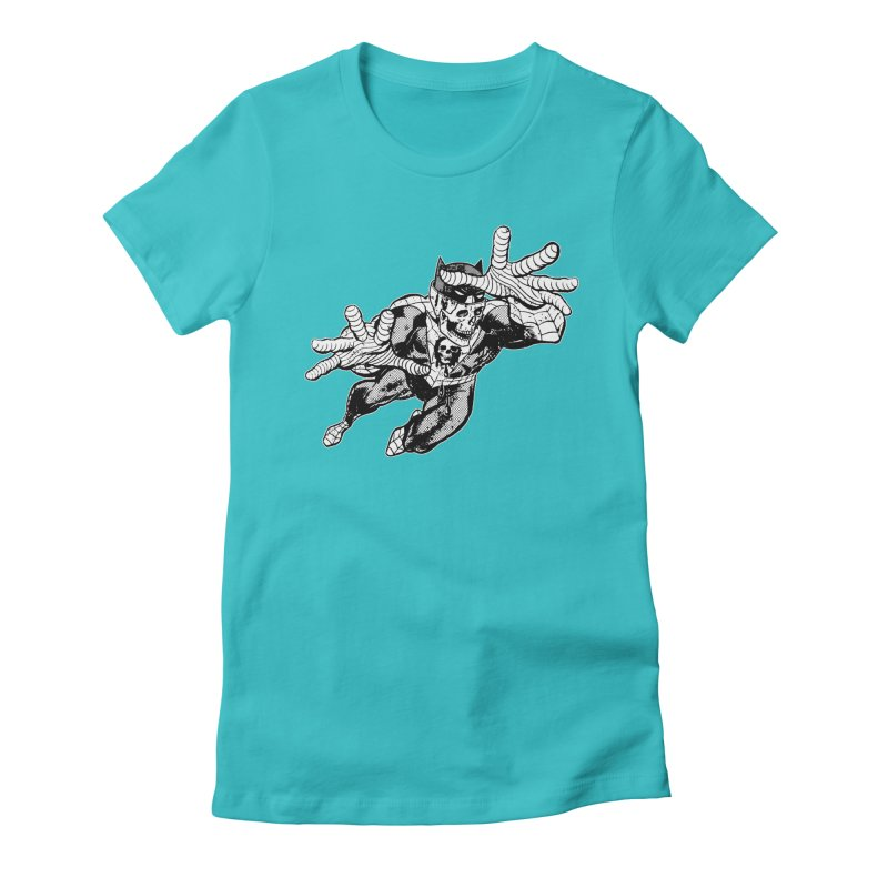 bat-skull-man-spider (two color) Women's Fitted T-Shirt by Paul Rentler