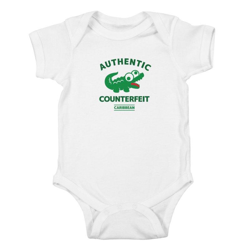 LACROCS - AUTHENTIC COUNTERFEIT Kids Baby Bodysuit by Paul Shih