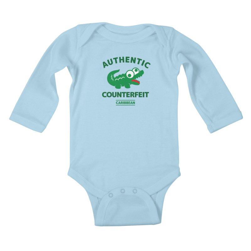 LACROCS - AUTHENTIC COUNTERFEIT Kids Baby Longsleeve Bodysuit by Paul Shih