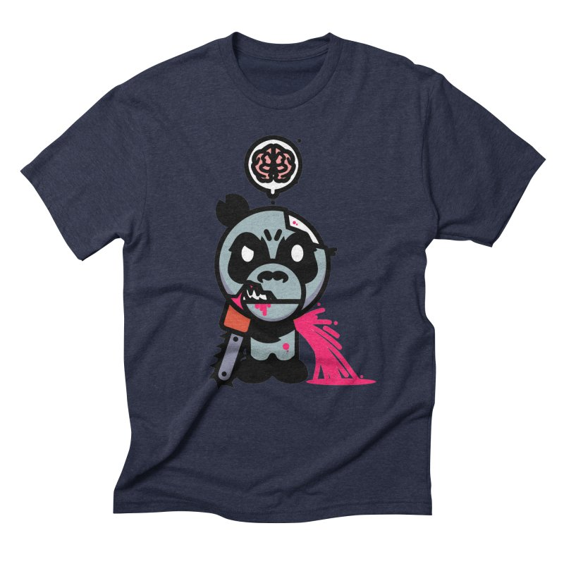 Chainsaw Panda Zombie Men's Triblend T-Shirt by pause's Artist Shop
