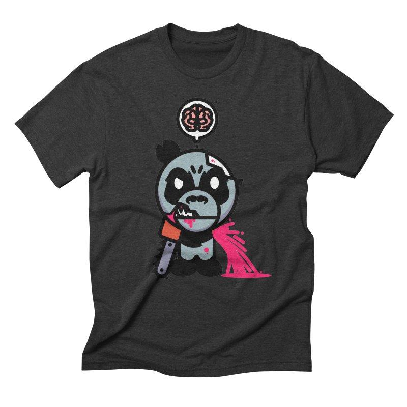 Chainsaw Panda Zombie Men's Triblend T-Shirt by pause's Artist Shop