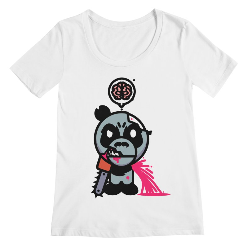 Chainsaw Panda Zombie Women's Scoopneck by pause's Artist Shop