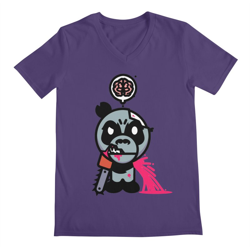 Chainsaw Panda Zombie Men's V-Neck by pause's Artist Shop