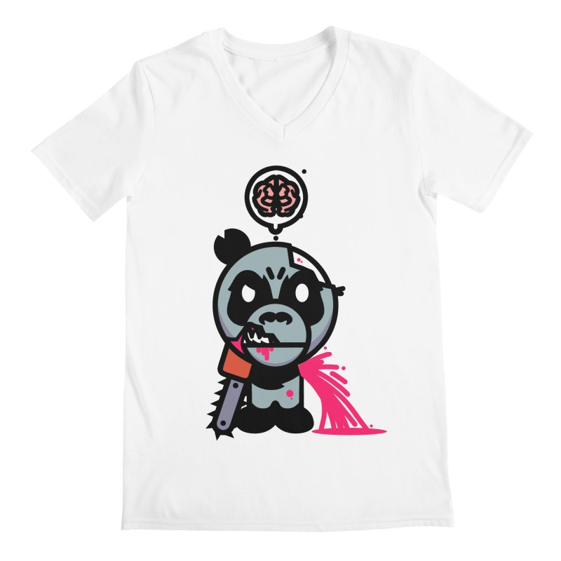 Chainsaw Panda Zombie Men's V-Neck by pause's Artist Shop
