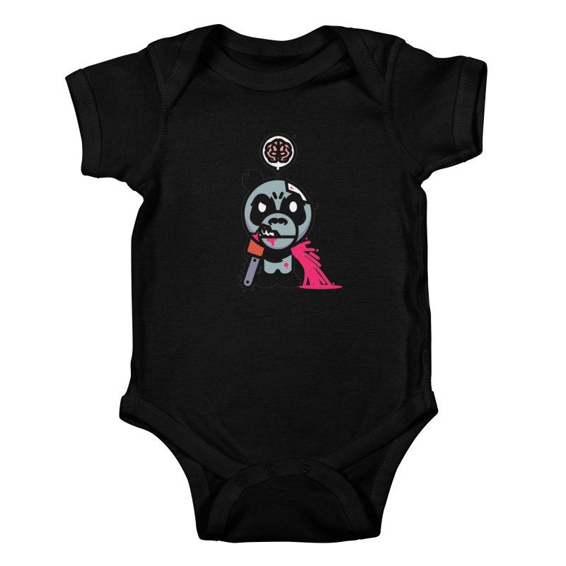 Chainsaw Panda Zombie Kids Baby Bodysuit by pause's Artist Shop