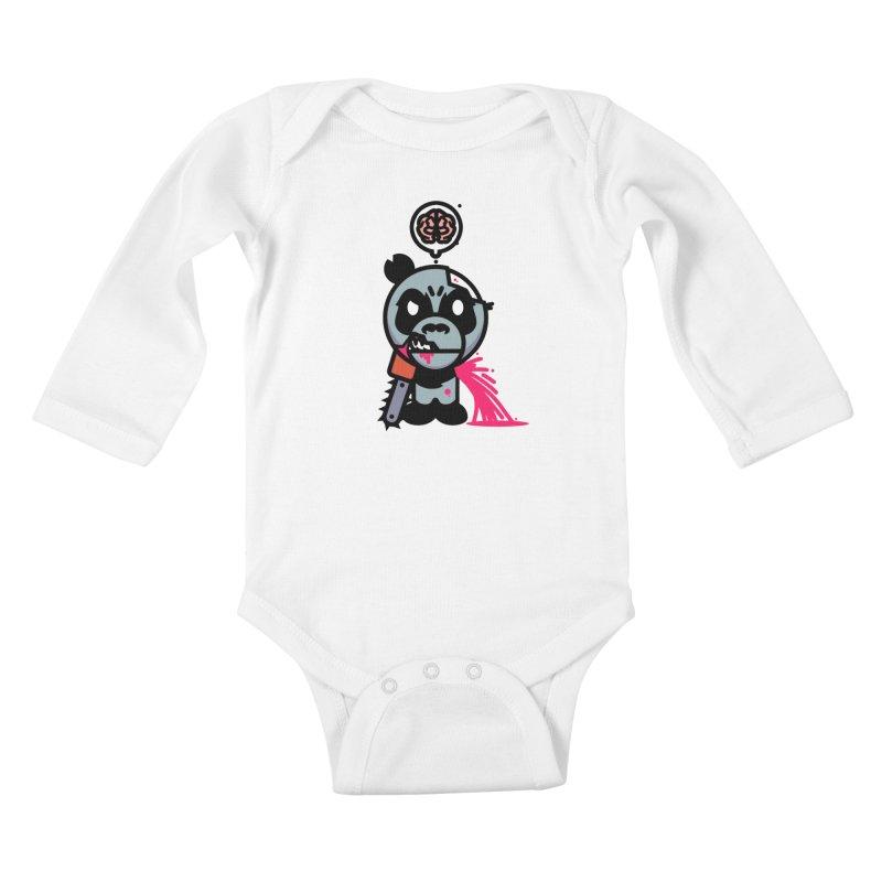 Chainsaw Panda Zombie Kids Baby Longsleeve Bodysuit by pause's Artist Shop