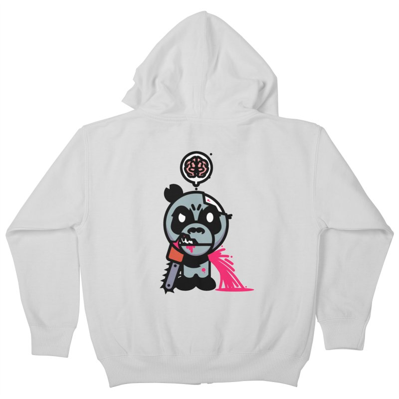 Chainsaw Panda Zombie Kids Zip-Up Hoody by pause's Artist Shop