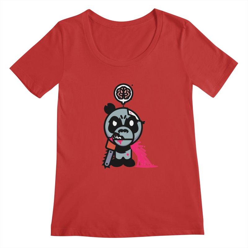Chainsaw Panda Zombie Women's Scoopneck by pause's Artist Shop