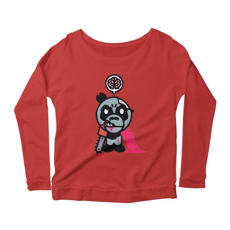 Chainsaw Panda Zombie Women's Longsleeve Scoopneck  by pause's Artist Shop