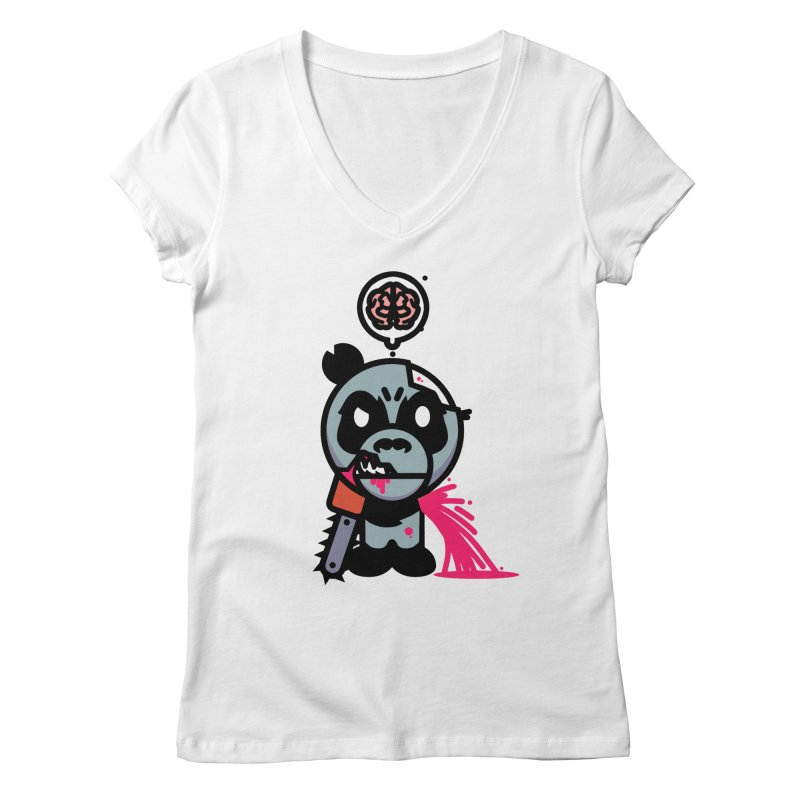 Chainsaw Panda Zombie Women's V-Neck by pause's Artist Shop