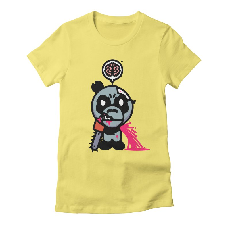 Chainsaw Panda Zombie Women's Fitted T-Shirt by pause's Artist Shop