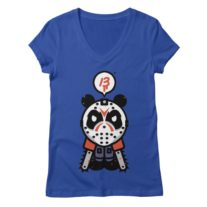 Chainsaw Panda Slasher Women's V-Neck by pause's Artist Shop