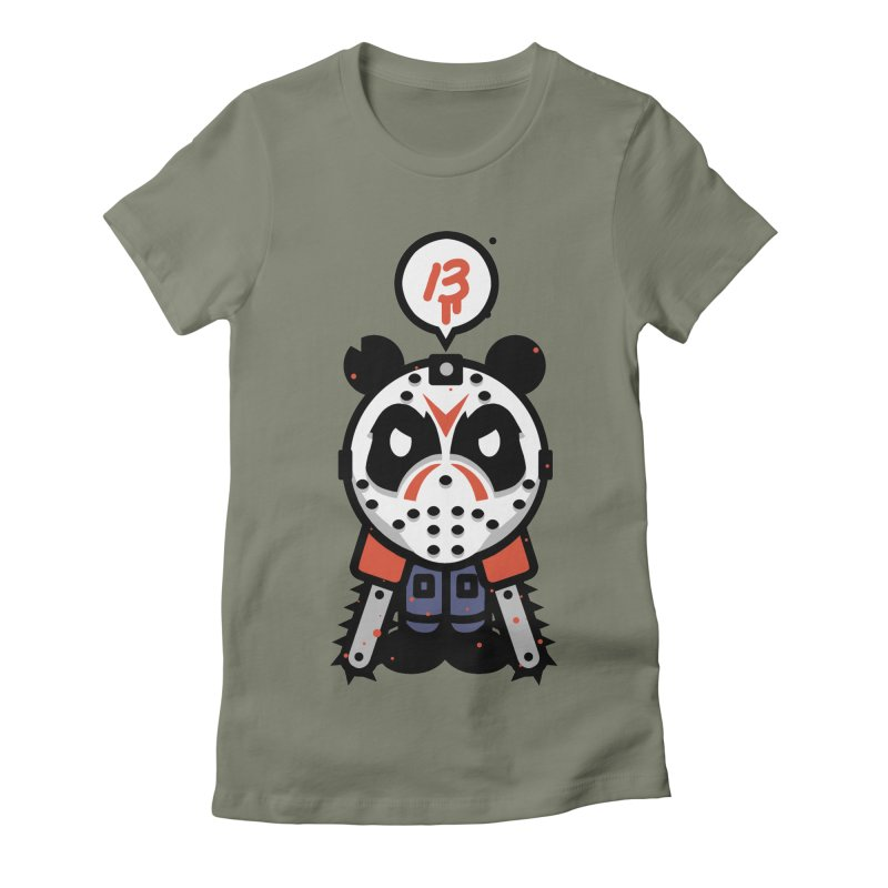 Chainsaw Panda Slasher Women's Fitted T-Shirt by pause's Artist Shop