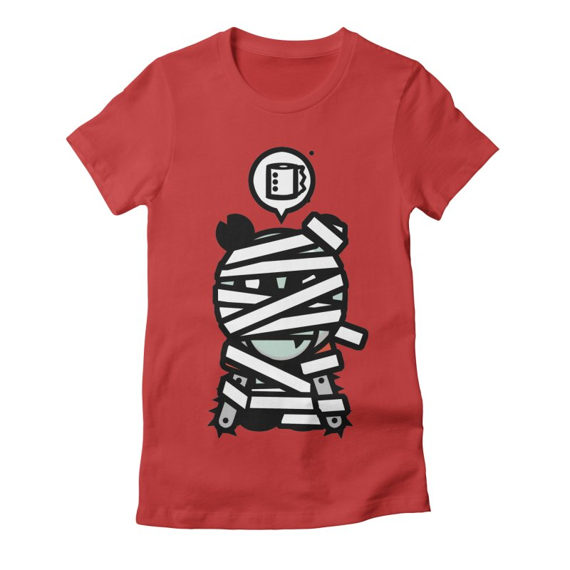 Chainsaw Panda Mummy Women's Fitted T-Shirt by pause's Artist Shop