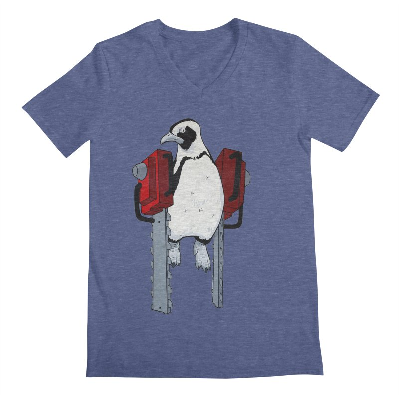 Chainsaw Penguin Men's V-Neck by pause's Artist Shop