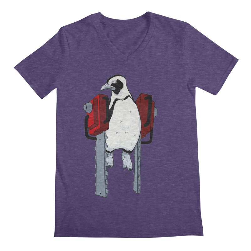Chainsaw Penguin Men's V-Neck by pause's Artist Shop