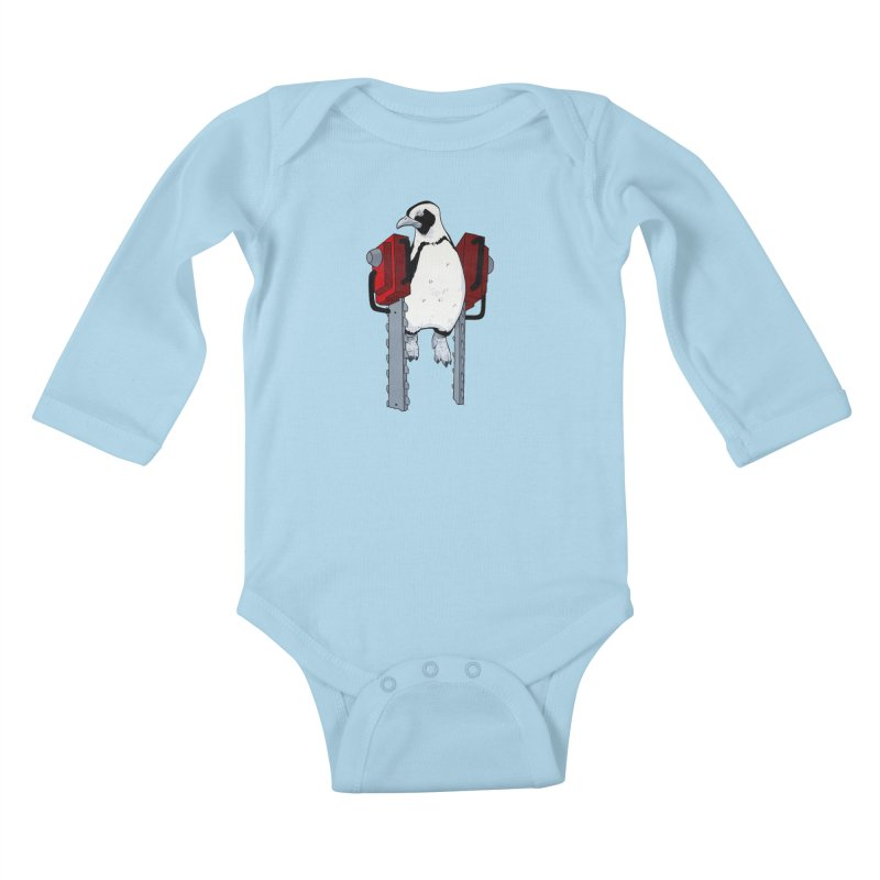 Chainsaw Penguin Kids Baby Longsleeve Bodysuit by pause's Artist Shop