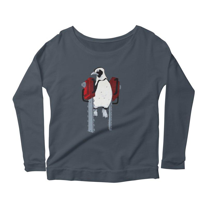 Chainsaw Penguin Women's Longsleeve Scoopneck  by pause's Artist Shop