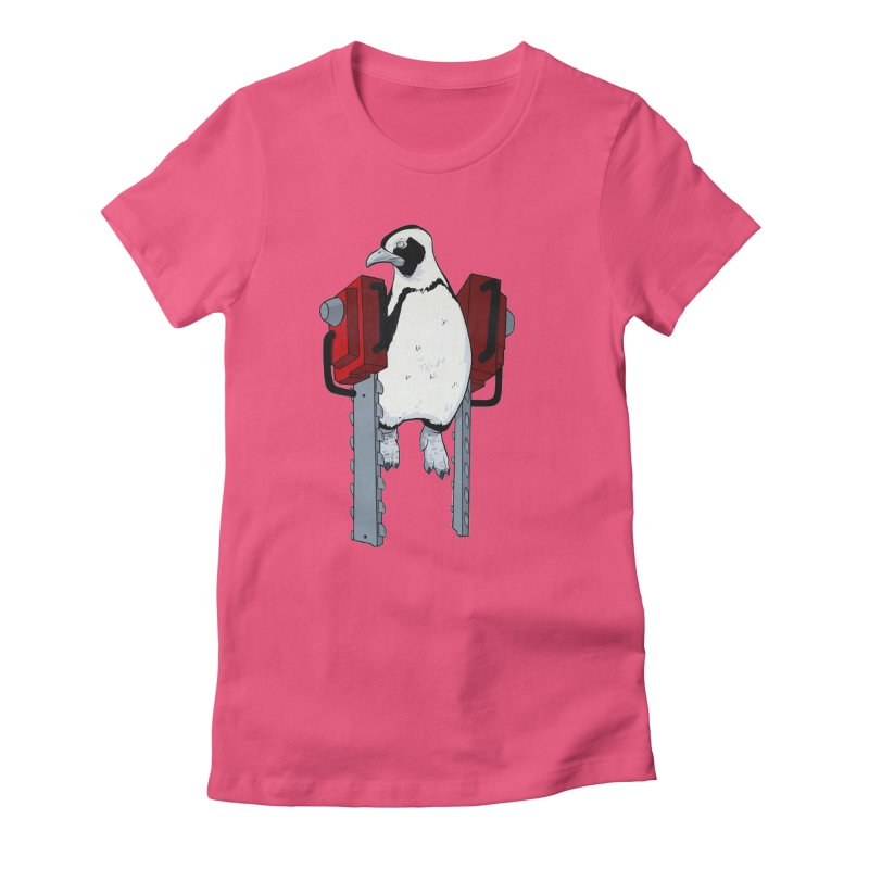 Chainsaw Penguin Women's Fitted T-Shirt by pause's Artist Shop