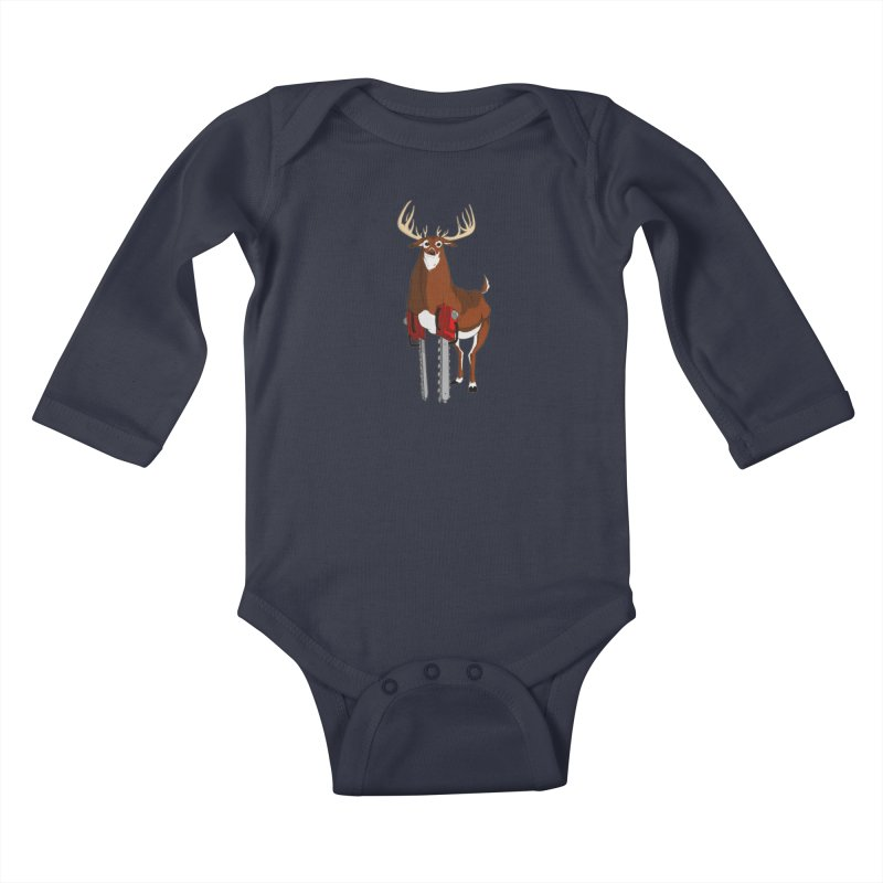 Chainsaw Deer Kids Baby Longsleeve Bodysuit by pause's Artist Shop